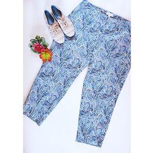Blue Paisley Talbots Capris Size 16 W